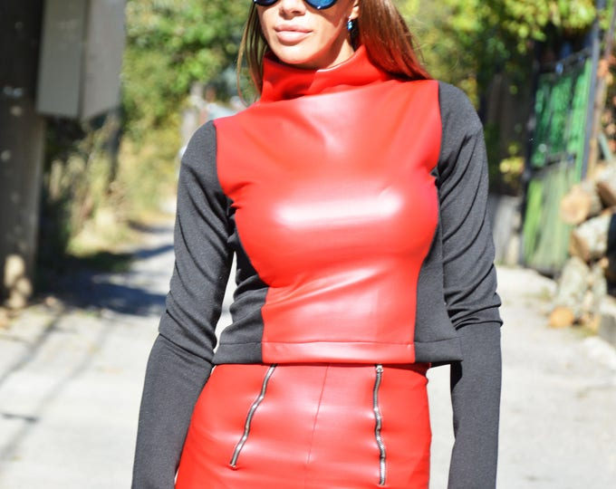 Woman Red Eco Leather Blouse With Long Sleeves, Red Turtleneck Top, Extravagant Oversize Clothing by SSDfashion