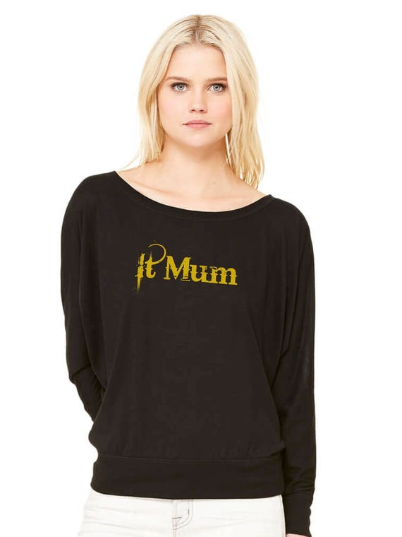 Woman black tee with bat sleeves. IT MUM in gold or silver.