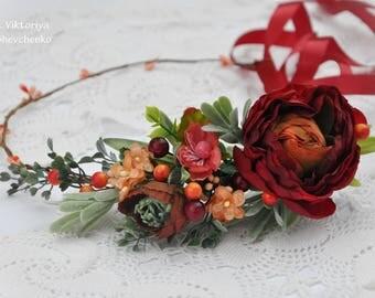 Marsala peach flower crown Wedding hair wreath Bridal flower crown Wedding Flower crown Floral hair wreath Bridal headpiece Flower halo