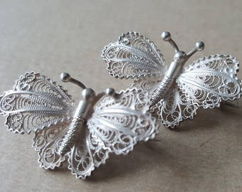 Vintage Pair of European Silver 800 Filigree Butterfly Brooches Pins
