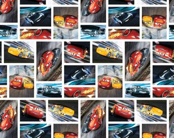 Cars 3 See You on the Track Cotton Woven, Disney Cars Fabric, Lightning McQueen Fabric, Disney Cars Material, Disney Fabric, Disney Material