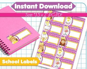 Kawaii Beauty Princess Belle Back to School Name Labels - Printable School Labels - Back to School Stickers - Back to School Tags