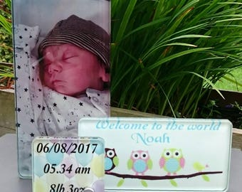 3 in 1 Glass Photo Blocks - New Baby Gift - Personalised with Birth Details and Photo - Boxed