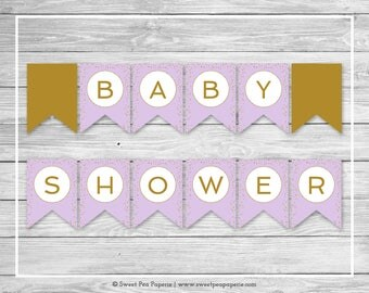 Purple and Gold Baby Shower Banner - Printable Baby Shower Banner - Purple Gold Confetti Baby Shower - Baby Shower Banner - EDITABLE - SP148