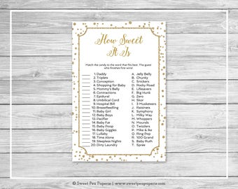 White and Gold Baby Shower How Sweet It Is Game - Printable Baby Shower How Sweet It Is Game - White and Gold Confetti Baby Shower - SP149