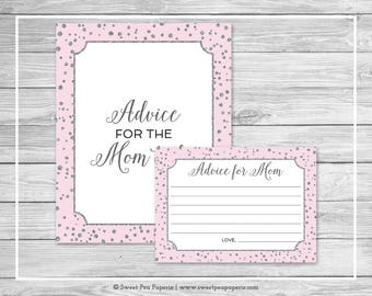 Pink and Silver Baby Shower Advice for Mom Cards - Printable Baby Shower Advice for Mom Cards - Pink and Silver Confetti Baby Shower - SP150