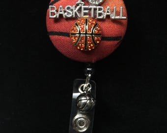 I Love Basketball--Nurse Retractable ID Badge Reel/ RN Badge Holder/Doctor Badge Reel/Nurse Badge Holder/Nursing Student Gifts
