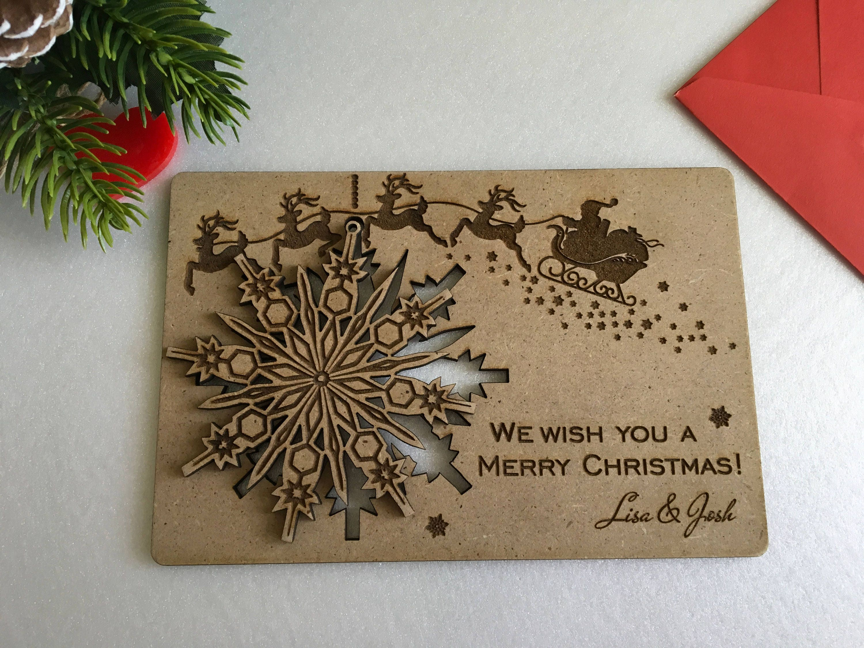 Christmas cards personalised wooden greeting wood