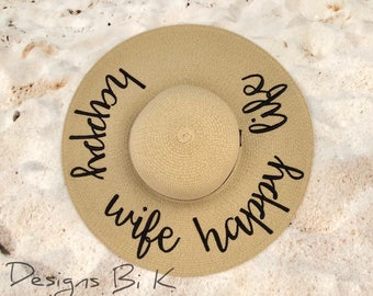 Happy wife happy life straw hat, Personalized beach hat, Custom floppy beach hat, Bridal shower, Honeymoon, Wedding gift, Personalized gift