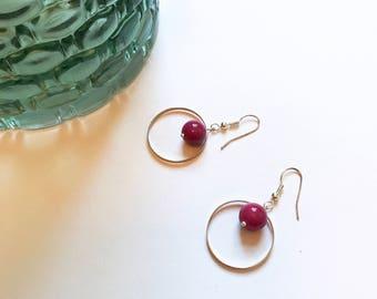 Mod Inspired Earrings, Hoop Earrings, Glass Bead Jewelry, Purple Earrings, Silver Jewelry, Mod Jewelry, Dangle Earrings, Mod Earrings