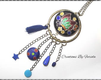 Bronze floral dark blue color and color necklace with hanging beads