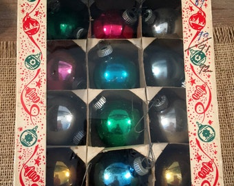 Vintage dozen Mixed color small Shiny Brite Christmas ornaments  with Box  Vintage Glass Ornaments