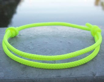 Bracelet surfer, neon yellow 2.5 mm, fine Ribbon for small wrists, sailors surfer bracelet, cord climbing rope rope knots, nautical