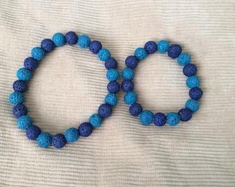 Blue Lavastone Pet Necklace and Bracelet Set