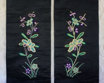 Pair of Antique Chinese Hand Embroidered Black Sleeve Panels