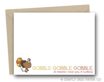 Funny Thanksgiving Greeting Card - Gobble Gobble Gobble (It mean I love you in Turkey) Thanksgiving Card, Turkey Cards, Funny Holiday Cards