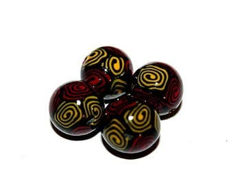 set of 4 beads round polymer clay (ref 012)
