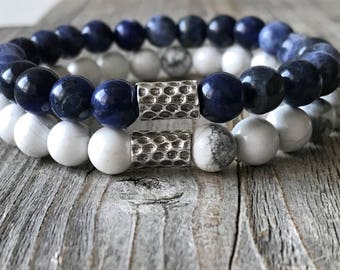 Gemstone men bracelet set, blue and white bracelets, bracelet men gift idea , wanderlust bracelets, rock bracelet, stretch stacking bracelet
