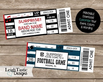 Print Yourself, Birthday Surprise, Surprise Concert Ticket, Event Ticket, Christmas, Holiday Ticket, Admit One, Football, Festival