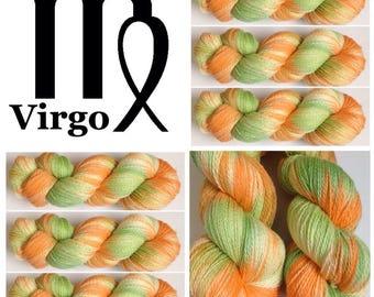 Virgo. Hand Dyed Yarn. Speckled Yarn Super Soft 100% Superwash Merino wool 100 g. Sock yarn. Fingering weight (2ply)