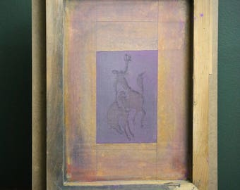 Vintage Western Primitive Cowboy holding Hat riding Horse Rodeo t-shirt Clothing Transfer Display Screen Sign Wood Artist Frame Original