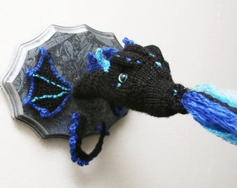 Viserion GoT Ice Dragon - Wight Dragon Breathing Cold Fire and Ice - Faux Taxidermy - Knit / Crochet Wall Decor - Stone Ice finish Plaque