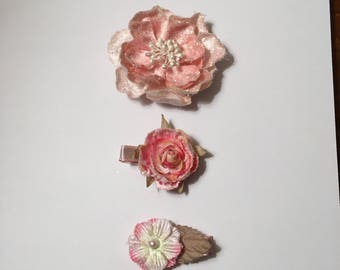 Set of 3 Pink Flower Hair Clips