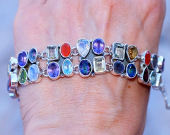 Multi color   set in Solid 925 Sterling Silver Bracelet by Silver Trend