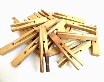 Set 24 Vintage Wood Clothespins Engraved Monogram MD Large Wooden Old Clothes Pegs Rustic Primitive Cottage Decor Outdoor Laundry Room Decor