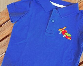 Baby Boy Shirt, Baby Boy Polo, Boy's Embroidered Polo Shirt, Boy's shirt with plane, Boy's airplane Shirt, Baby Polo with airplane