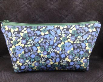 Cosmetic bag, medium, floral, black, blues, greens, make up, travel, cords and chargers, organization, nail care, all purpose bag.