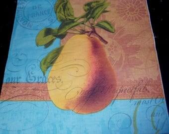 6 PEAR fruit, vintage napkin paper napkin paper napkins