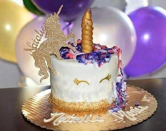 Unicorn with Custom Name Cake Topper