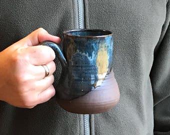 Blue Bronze and Gold Coffee Mug - Men's Black Tea Mug  Black Hot Chocolate Mug Pottery Mug Earthy Mug Ceramic Black Mug Pottery Mug Unique