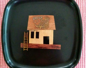 """Couroc Tray, Fresh Fish, Wood and Brass Inlay, 8.5"""" x 8.5"""", Made in USA, Monterey CA"""