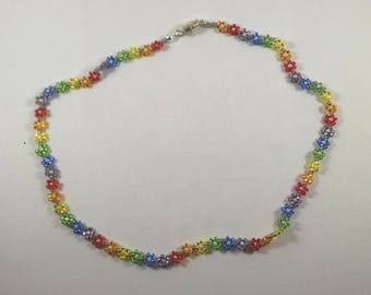 Rainbow Daisy Chain Necklace, Beaded Flower Chain Jewelry, Boho Necklace, Multicolor Flower Charm Necklace