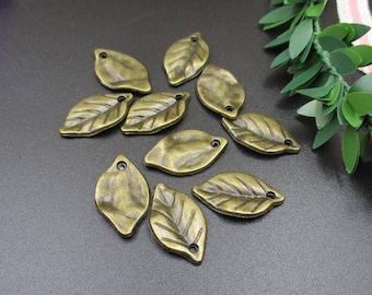 10Pcs 23×12mm Bronze Leaf Charms,Leaf Pendants-p1346