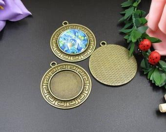 5pcs 25mm Circle Bezel Blanks,Cameo Cabochon Base Setting Pendants,Antique Bronze Tone-b2222