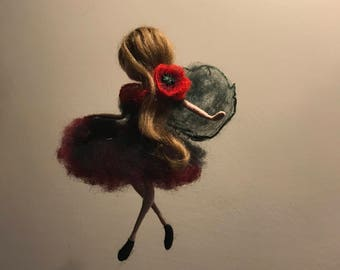 Needle felted Fairy, Waldorf inspired, Wool fairy, Flower fairy, Poppy, Red poppy, Spring fairy, Doll miniature, Gift, Art doll