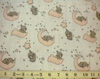 1 YD - Double Gauze/Little One Embrace/By Shannon Fabrics (Pink Elephants)