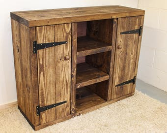 Rustic handcrafted reclaimed wooden chunky sideboard in walnut wax
