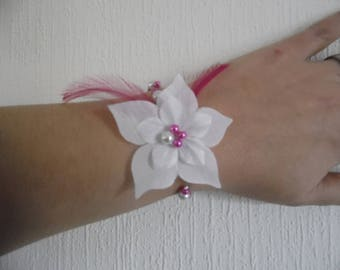fuchsia pink silk flower wedding bridal bracelet / white pearls feathers holiday evening ceremony