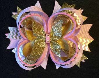 Princess Pink and Gold Stacked Boutique Hair Bow