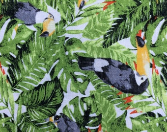 Tropical Toucan Pattern Rayon Linen fabric by 0.5 yard (18inches/46cm)