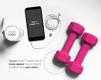 HEALTH & FITNESS BLOGGER / iphone + weights / 7 Colors + Change to your own Color / Flat Lay Minimalist Styled Stock Photo / #52