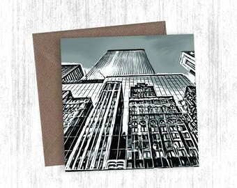 City Reflection Painting Artwork Card Set of 1, 3, 5, 10 or 20 - Holiday Cards - Christmas Cards - Greetings Cards