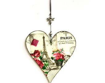 wooden hanging heart, Paris heart, hanging heart, valentine's gift, hanging heart, heart decor, vintage heart, love gift