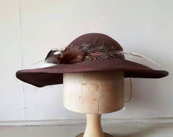 Vintage Brown Felt Hat