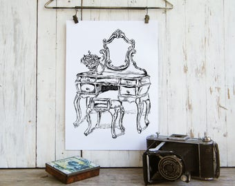 Antique Vanity Printable, Rustic Wall Art, Clip Art, Retro Style, Country  Home