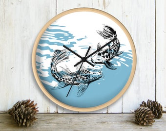 Koi Fish Wall Clock, Nautical Wall clock, Bedroom Decor, Blue White Wall Clock, Clock For Home, Valentines Gift, Nature Art